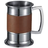 Visol Brown Leather Wrapped Stainless Steel Beer 18-ounce Tankard