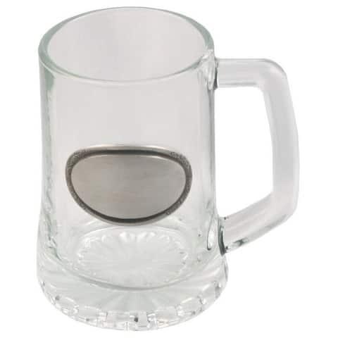 Visol Vardon Glass Mug with Pewter 10-ounce Engraving Plate