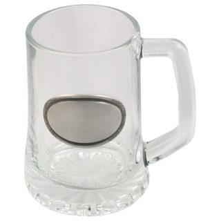 Visol Vardon Glass Mug with Pewter 10-ounce Engraving Plate