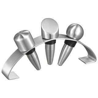 Visol Barlow Stainless Steel Wine Stoppers with Arched Stand