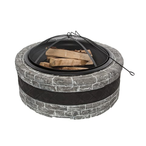 Sun Joe Fire Joe 35-Inch Charcoal Grey Cast Stone Fire Pit