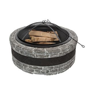 Sun Joe Fire Joe 35-Inch Charcoal Grey Cast Stone Fire Pit|https://ak1.ostkcdn.com/images/products/10083209/P17226411.jpg?impolicy=medium