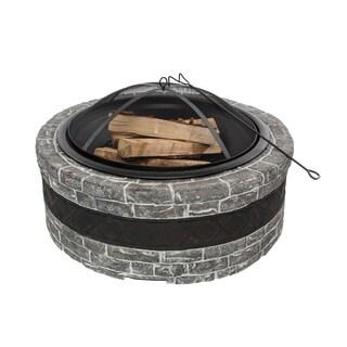 Sun Joe Fire Joe 35-Inch Charcoal Grey Cast Stone Fire Pit