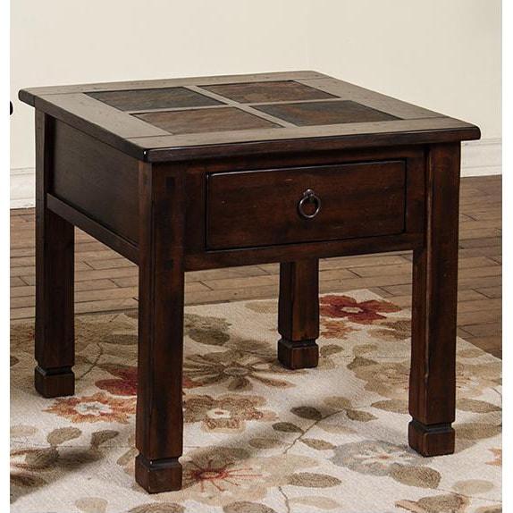 Sunny Designs Santa Fe End Table W/ Slate Top