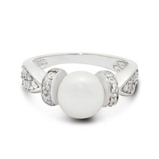 Gioelli Sterling Silver Freshwater Pearl and Cubic Zirconia Ring (8.5mm)(Size 7)