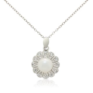 Gioelli Sterling Silver Freshwater Pearl Cubic Zirconia Flower Necklace