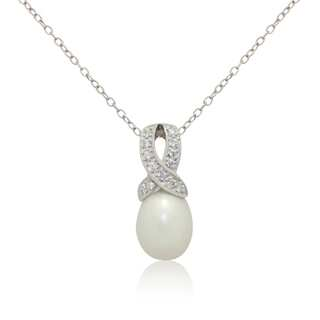 Gioelli Sterling Silver Freshwater Pearl Cubic Zirconia Ribbon Necklace