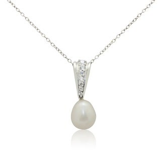 Gioelli Sterling Silver Freshwater Pearl Cubic Zirconia Necklace (9-10mm)