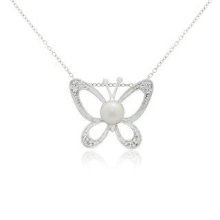 Gioelli Sterling Silver Freshwater Pearl Cubic Zirconia Butterfly Necklace (6-7mm)