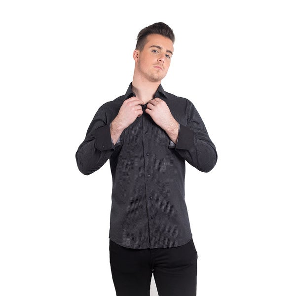 Elie balleh men 39 s 2015 button up style slim fit shirt for Fitted button up shirts mens