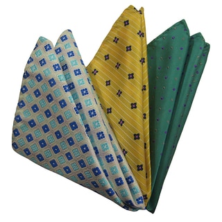 Dmitry Men's Blue/ Yellow/ Green Italian Silk Pocket Squares (Pack of 3)