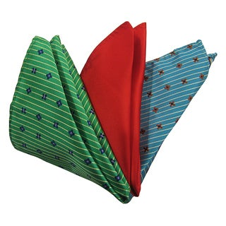 Dmitry Men's Green/ Red/ Teal Italian Silk Pocket Squares (Pack of 3)