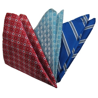Dmitry Men's Burgundy/ Teal/ Blue Italian Silk Pocket Squares (Pack of 3)
