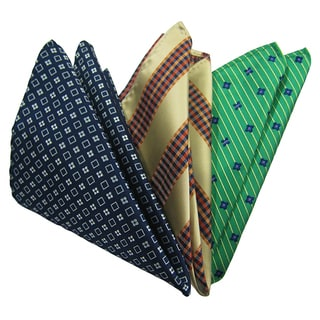Dmitry Men's Navy/ Cream/ Green Italian Silk Pocket Squares (Pack of 3)