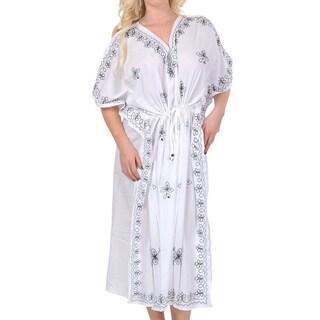 La Leela Designer Embroidered White Plus Size RAYON Caftan Loose Maxi Cover up