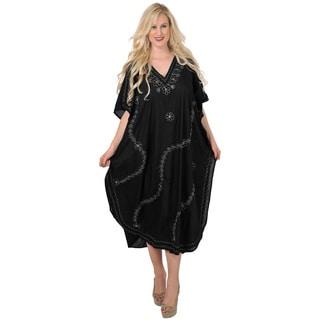 La Leela Embroidered Silver Beachwear Sleepwear Maxi Gown Kaftan Vintage Dress Cap Sleeve