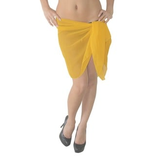 La Leela Solid Lightweight Sheer Chiffon Beach Sarong Coverup 72X21 Inch Yellow