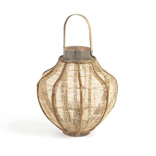 Burlap and Bamboo Lantern
