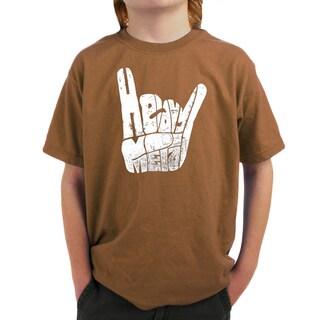LA Pop Art Boy's Heavy Metal Fingers T-shirt (4 options available)