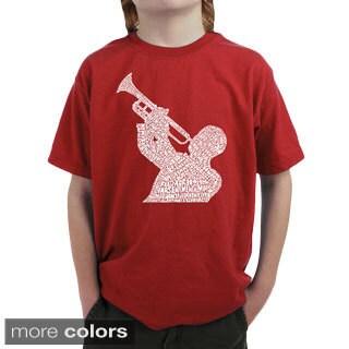 LA Pop Art Boy's Jazz Greatest Hits T-shirt (Option: Orange)