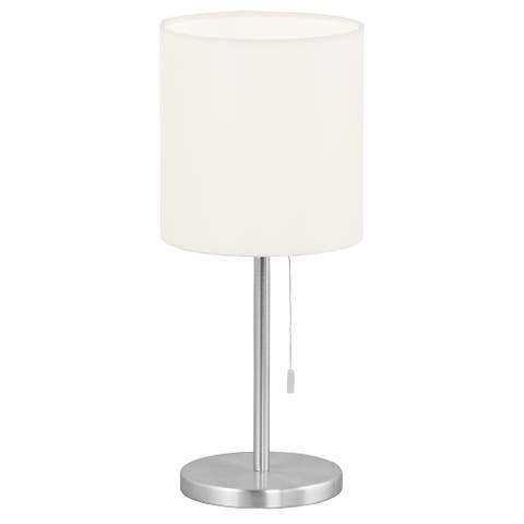 Eglo Sendo 1-light Aluminum Finish Table Lamp with White Shade