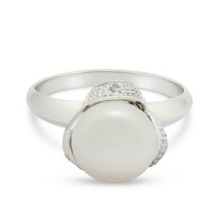 Gioelli Sterling Silver Freshwater Pearl and Cubic Zirconia Ring (9-10mm)(Size 7)