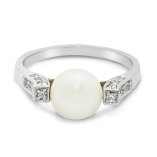 Gioelli Sterling Silver Freshwater Pearl and Cubic Zirconia Ring (7-8mm)(Size 7)