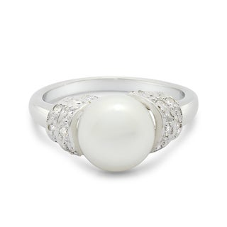 Gioelli Sterling Silver Freshwater Pearl and Cubic Zirconia Ring (8-9mm)(Size 7)