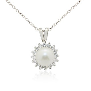 Gioelli Sterling Silver Freshwater Pearl Cubic Zirconia Flower Necklace (8-9mm)