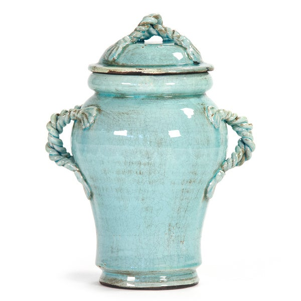 Decorative Rope Like Handle Detail Ceramic Jar With Lid