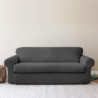 QuickCover Shiloh 2-piece Stretch Velvet Sofa Slipcover
