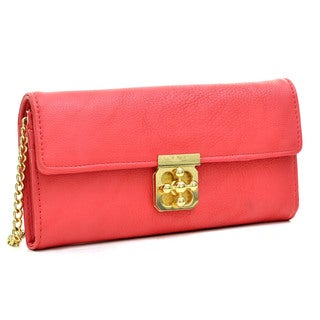 Dasein Gold-Tone Chained Faux Leather Twist-Lock Wallet