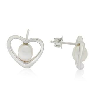 Gioelli Sterling Silver Freshwater Pearl Heart Stud Earrings (6-7 mm)