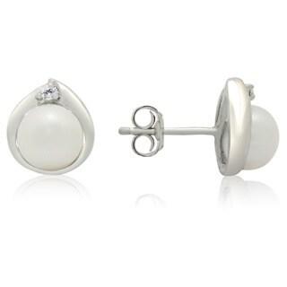 Gioelli Sterling Silver Freshwater Pearl Cubic Zirconia Teardrop Stud Earrings (7-8 mm)