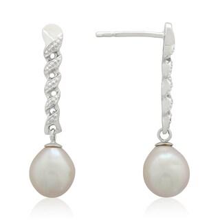 Gioelli Sterling Silver Freshwater Pearl Braided Dangle Earrings (8-9 mm)