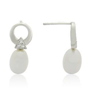 Gioelli Sterling Silver Freshwater Pearl Cubic Zirconia Open Dangle Earrings (10-11 mm)
