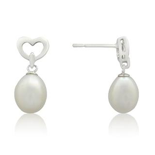 Gioelli Sterling Silver Freshwater Pearl Open Heart Dangle Earrings (9-10 mm)