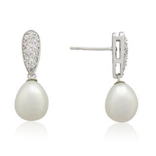 Gioelli Sterling Silver Freshwater Pearl Cubic Zirconia Pave Dangle Earrings (10-11 mm)