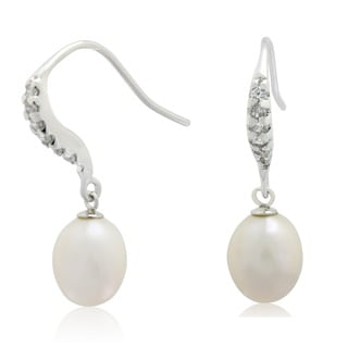 Gioelli Sterling Silver Cubic Zirconia and Freshwater Pearl Dangle Earrings (9-10 mm)