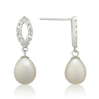 Gioelli Sterling Silver Freshwater Pearl and Cubic Zirconia Open Dangle Earrings (9-10 mm)