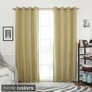 Aurora Home Linen Look Room Darkening Grommet Curtain Pair