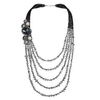 Midnight Cascade Freshwater Pearl Five Layer Necklace (Thailand)
