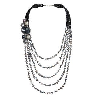 Handmade Midnight Cascade Freshwater Pearl Five Layer Necklace (Thailand)