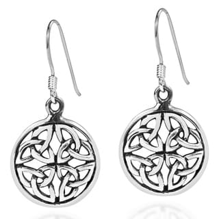 Handmade Round Triquetra Knot Medallion .925 Silver Earrings (Thailand)