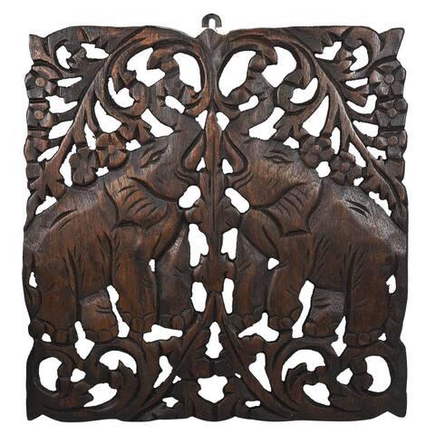Thai Elephant Calves Handmade Teak Wood Wall Art Relief Panel (Thailand)