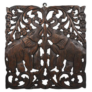 Thai Elephant Calves Handmade Teak Wood Wall Art Relief Panel (Thailand)