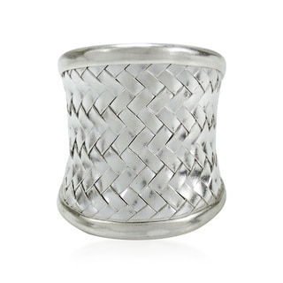 Exotic Weave Wide Front Thai Hill Tribe Karen Silver Ring (Thailand)