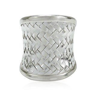 Handmade Exotic Weave Wide Front Thai Hill Tribe Karen Silver Ring (Thailand)