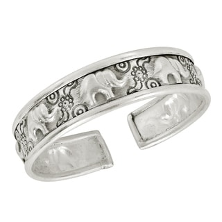 Thai Karen Hilltribe Elephant and Flower Fine Silver Cuff (Thailand)