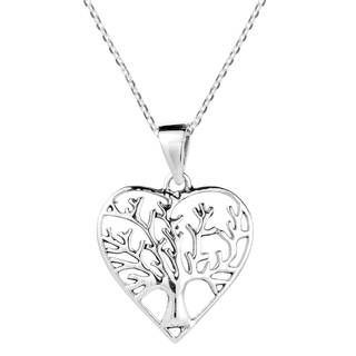 Handmade Heart Shape Tree of Life Sterling Silver Necklace (Thailand)
